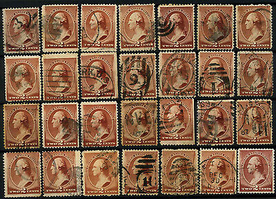 USA 1883 SG#213a 2c Brown x 28 Used #D39781