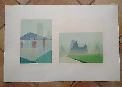 """Illegibly Signed LITHOGRAPH  """"Eastern Shapes Limited ed 4/12 Abstract"""
