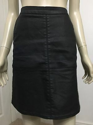 Next Size 6 Black Leather Look Black Mini Skirt In Perfect Condition