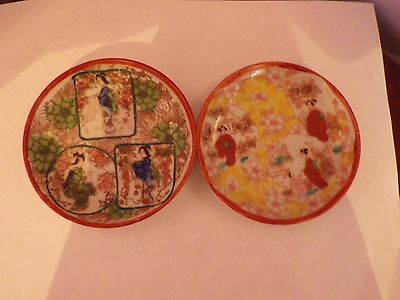 TWO ANTIQUE JAPANESE POTTERY LADIES DESIGN PLATE/SAUCERS 10 CMS DIA in V.G.C.F.A