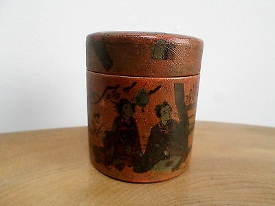VINTAGE,ANTIQUE JAPANESE RED LACQUER VANITY,PIN BOX geisha in a garden