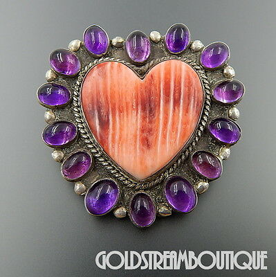 Navajo Signed Sterling Silver Heart Spiny Oyster Amethyst Cabochon Pin Pendant