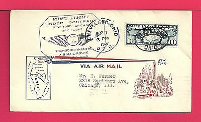 1927 First Flight Cover Cleveland Oh To Chicago Il Cam 17 * Scarce Cachet