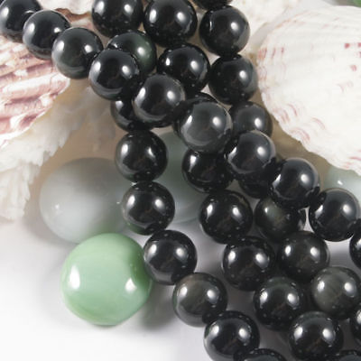 "10mm Black Obsidian Gemstone Round Ball Beads Strand Jewelry DIY Gift 16"" L"