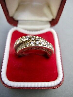 £50 Womens 9ct Gold on 925 Sterling Silver Double Band Gemstone Ring Size UK N.5