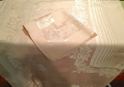 Vintage Tablecloth Damask With 10 Matching Napkins Large 62 X 116 In. Pink