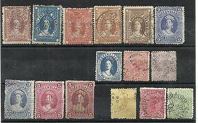 AUSTRALIA - QUEENSLAND 1880s Typographed or lithographed range, values to 2/- al