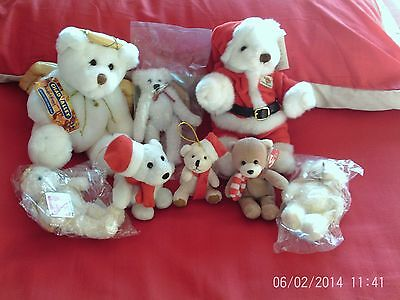 'Hard Rock Cafe' Christmas bear and 7 other teddies