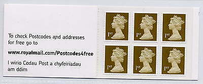 GB 2007 6 x 1st CLASS WELSH POSTAGE SELF ADHESIVE BOOKLET MB4f