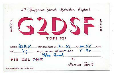 LEICESTER, 1967 QSL Radio Confirmation Transmission Card G2DSF