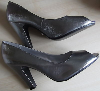 """Size 9 (43) Mottled Silver Peep Toe Shoes 4"""" Heel New Look Brand New"""