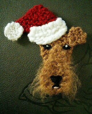 knitted Christmas welsh terrier brooch NEW !