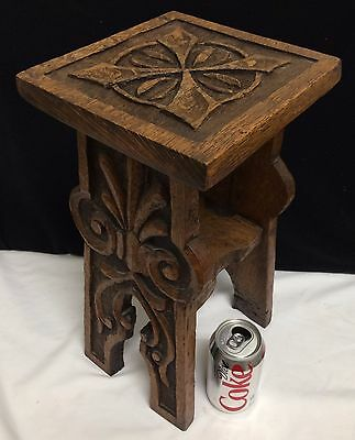 Antique Arts Crafts Mission Hand Carved Primitive Tiger Oak Plant Stand Aafa