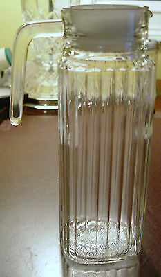 Nice White Top Glass Ribbed Refrigerator Pitcher