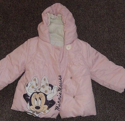 Baby Girls Pink Minnie Mouse Padded Coat Age 1 1/2 To 2 Years 18-24 Months Disne