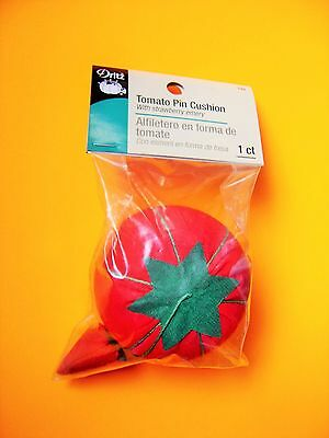 """Dritz Red Tomato Pin Cushion - 2 1/2"""" diameter With a Strawberry Emery Sharpener"""