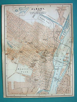 1899 MAP by Baedeker - USA ALBANY City Plan New York