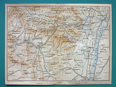 1899 MAP by Baedeker - USA CATSKILLS Mountains  Hudson River New York State