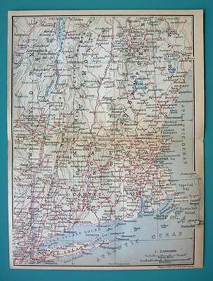 1899 MAP by Baedeker - USA NEW ENGLAND States + Railroads