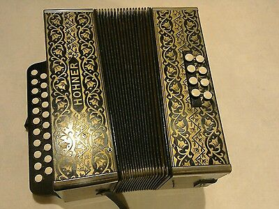 Vintage Hohner Pokerwork Melodeon Button Accordion Accordian C C# Key