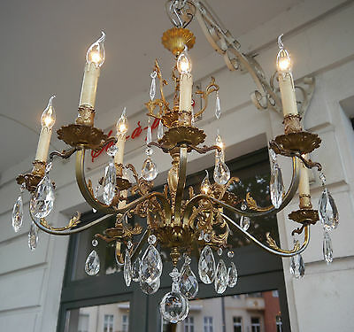 Large Airy Brass French Chandelier Crystal Glass Vintage Lamp Ancient
