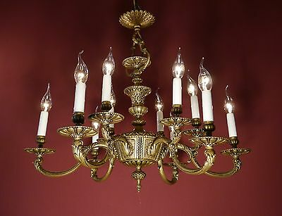 Rare Fine French Brass Chandelier Vintage Old Lamp Ancient
