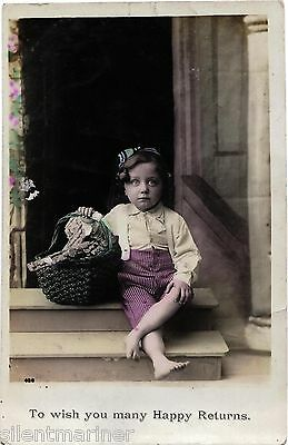 Barefooted Boy sitting on Step, coloured RP postcard, posted 1909