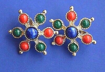 """Vintage SARAH COVENTRY Signed 1970 """"CARNIVAL"""" Clip On Earrings"""