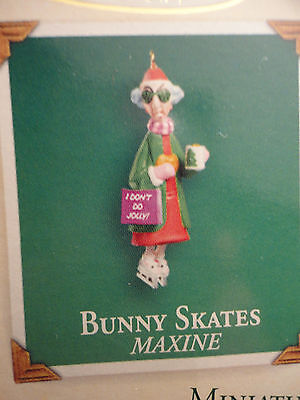 Hallmark ornament  MINIATURE Maxine Bunny Skates NEW in box with small card 2003