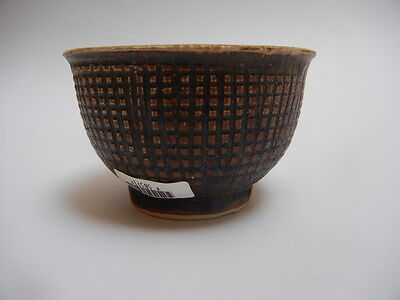 Hoi An - 15th Century - Brown Glazed Wine Cup - Incised Pattern