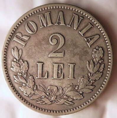 1872 ROMANIA 2 LEI - Extremely Rare - HUGE Value Silver Coin - +Grade - Lot #N30