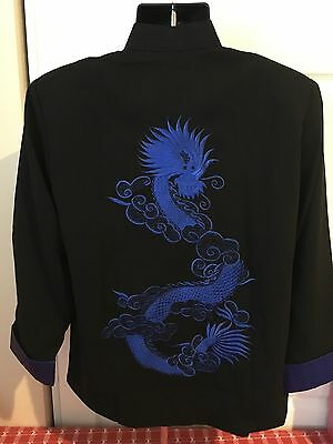 Kung Fu Embroidered Dragon Black Blue Shirt - 100% Silk Size M