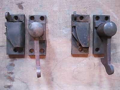 Antique Brass Window Sash Locks and Spring Keepers Lot of 2
