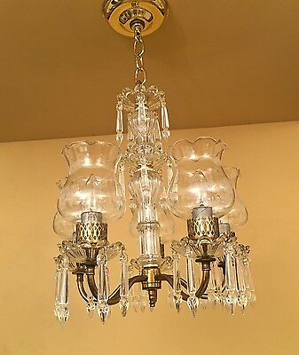 Vintage Lighting 1940s petite crystal chandelier