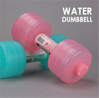 Fashion  2 Pcs Plastic Filling Water Home Office Bodybuilding Dumbbell Gift NEW