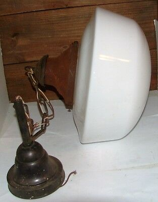 Large Antique Fixture Ceiling Light School House Bank Milk Glass Globe  14""