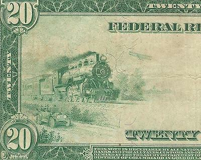 LARGE 1914 $20 DOLLAR BILL BIG FEDERAL RESERVE NOTE CURRENCY PAPER MONEY Fr 978