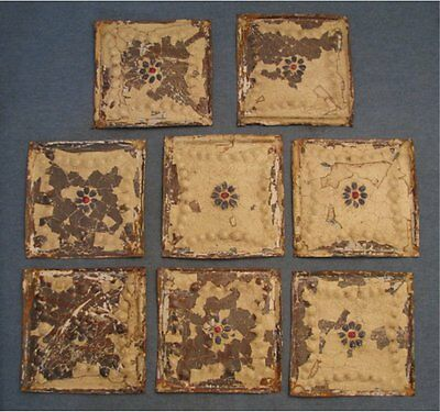 set of 8 matching vintage tin ceiling pieces apr. 6 X  6