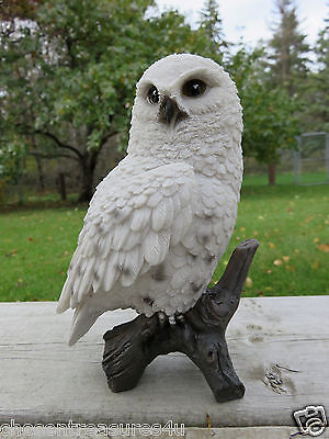 "6.75""  Snowy Owl Figurine On Tree Stump  Hooter Statue Wise Old Owl"