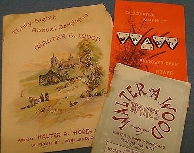 3 1800/1900 Walter A Wood Horse Drawn Farm Implement Catalogs farming