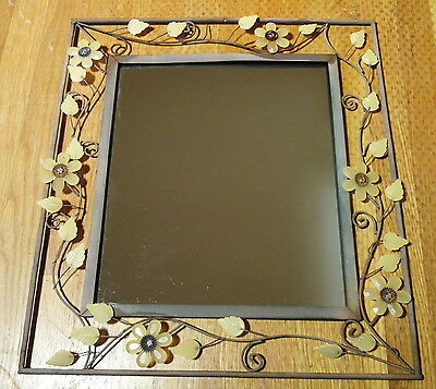Vintage Wall Mirror w/Faceted Quartz Flowers & Leaves On Wrought Iron Frame