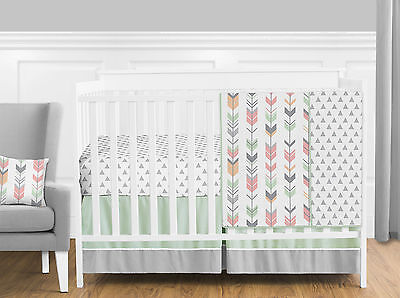 Coral Pink Mint Green Modern Arrow Bumperless Newborn Girl Baby Bedding Crib Set