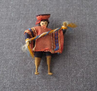 Vintage 1940's Ethnic Hand Crafted Miniature Coya Man Doll Pendant Bolivia