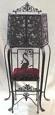 Antique Wrought Iron Telephone Stand & Chair Gothic Dragons, Oscar Bach, NR
