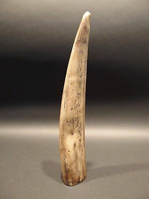 Nice Antique Style Folk Art Whale Scrimshaw Etched Resin Tusk