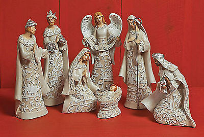 new 7 Piece NATIVITY w Delicate Sparkling Embroidery Look NEUTRAL color MSRP $62