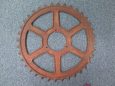 "Antique New Idea Coldwater Ohio L-386A 24"" Rustic Farm Metal Gear Cog Wheel"