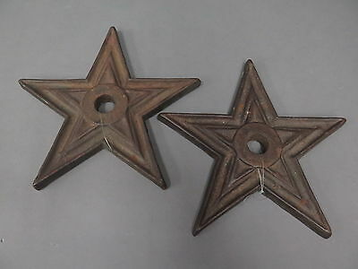 (2) Antique Cast Iron Architectural Stress Washer Rustic Ranch Stars - 9 1/4""