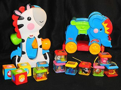 Fisher-Price Peek-A-Blocks -Musical Circus Elephant & Giraffe With 12 Blocks!
