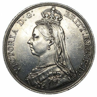 1887 Crown - Victoria British Silver Coin - V Nice